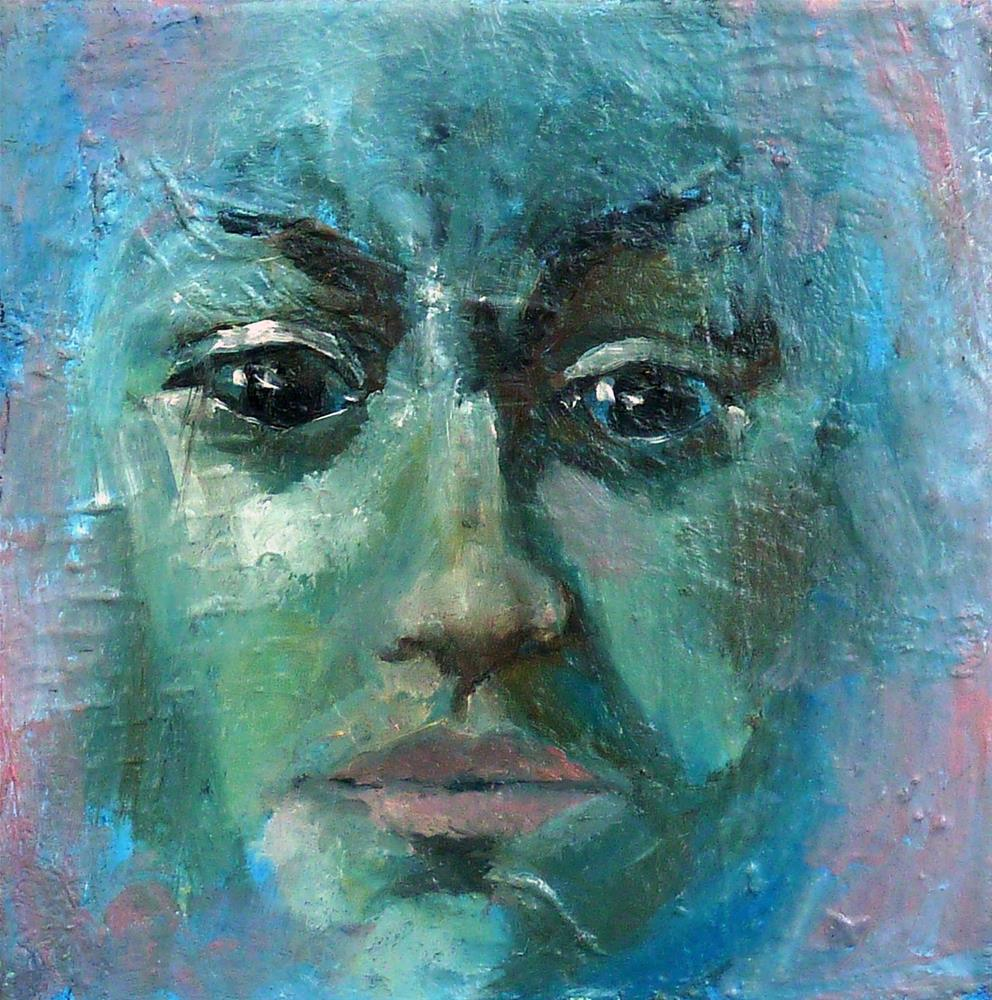 """Portrait in blue"" original fine art by Mila Plaickner"