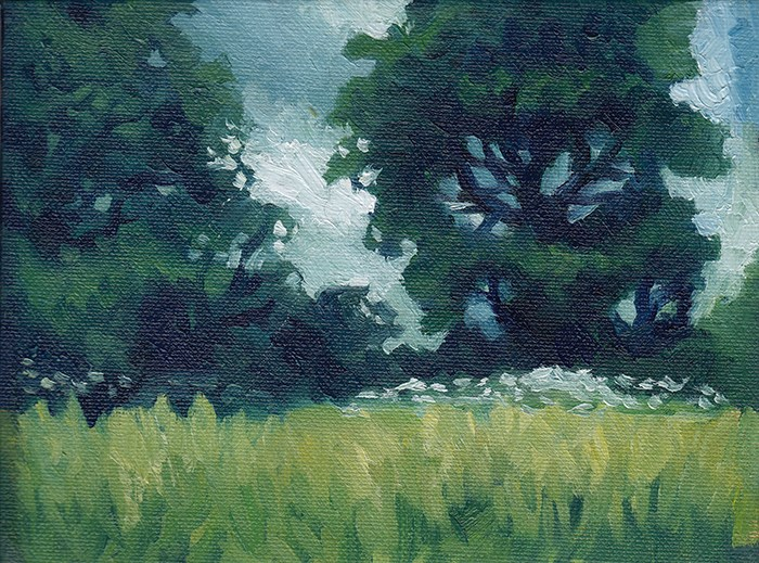 """Meadow Trees Plein Air"" original fine art by J M Needham"