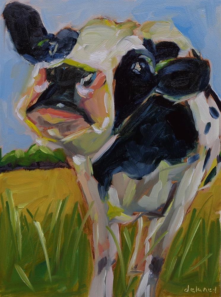 """Cow 108 TOPSY TURVY"" original fine art by Jean Delaney"