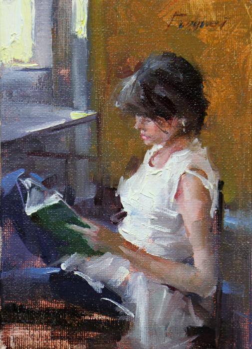 """""""Girl reading"""" original fine art by Fongwei Liu"""