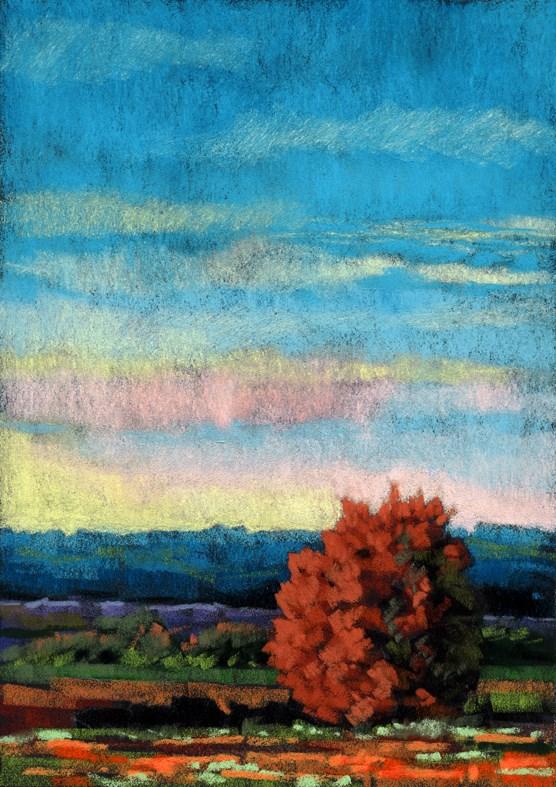 """Early Dusk landscape painting"" original fine art by Ria Hills"