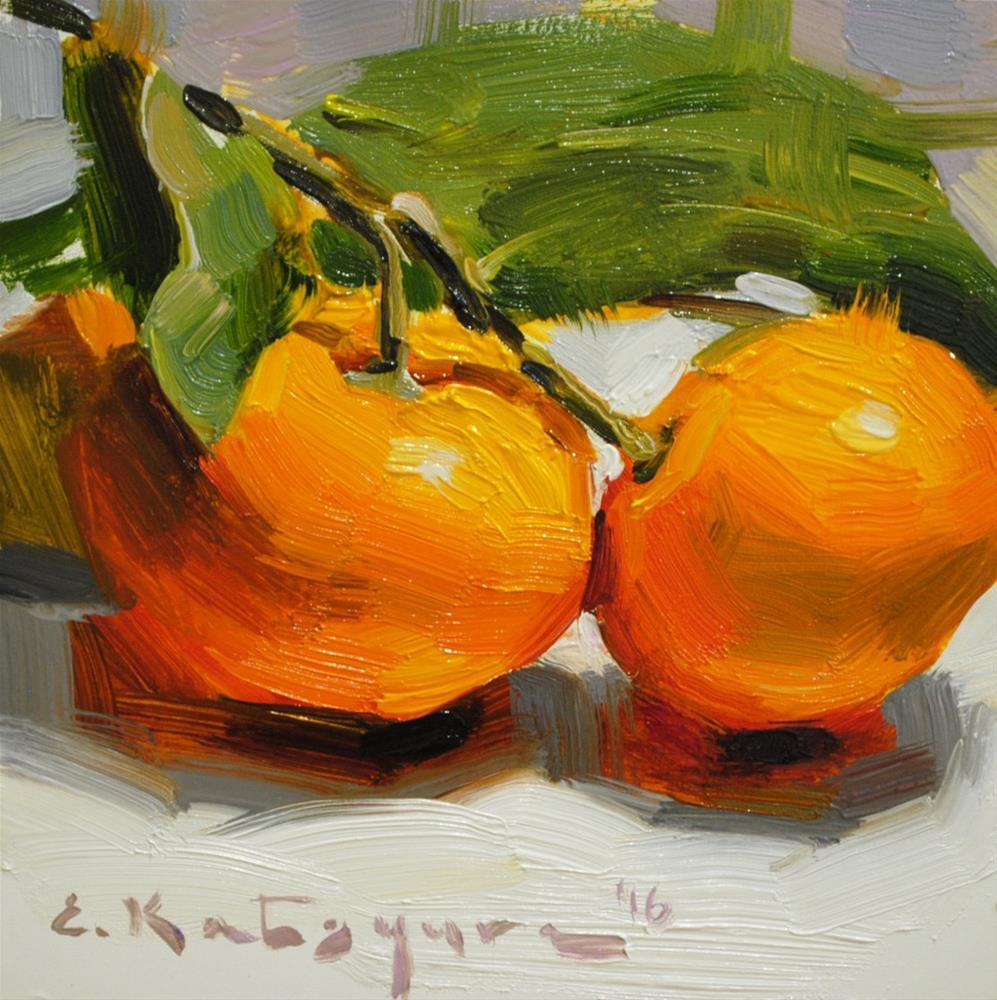 """A Branch of Mandarins"" original fine art by Elena Katsyura"