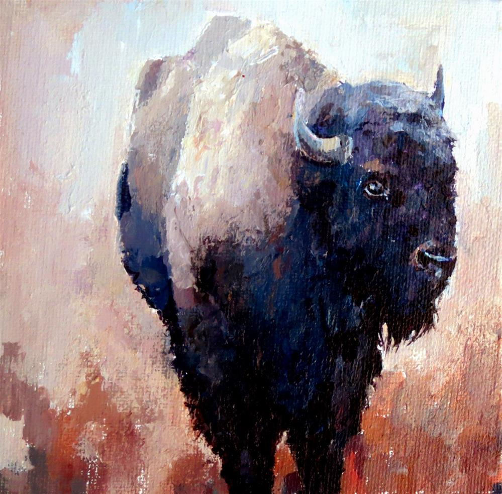 """American Bison"" original fine art by Nava Judith"