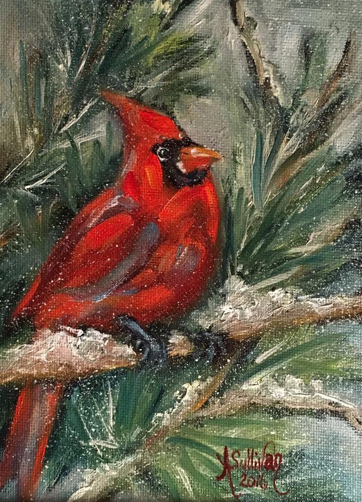 """Winter Majesty cardinal painting by Alabama Artist Angela Sullivan"" original fine art by Angela Sullivan"