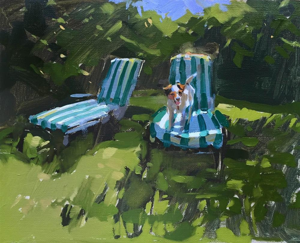 """Sun lounger"" original fine art by Haidee-Jo Summers ROI"