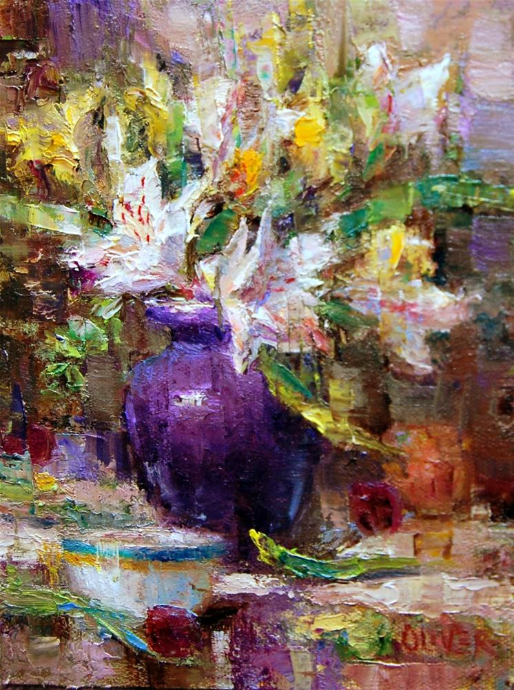 """Purple and Alstroemeria"" original fine art by Julie Ford Oliver"