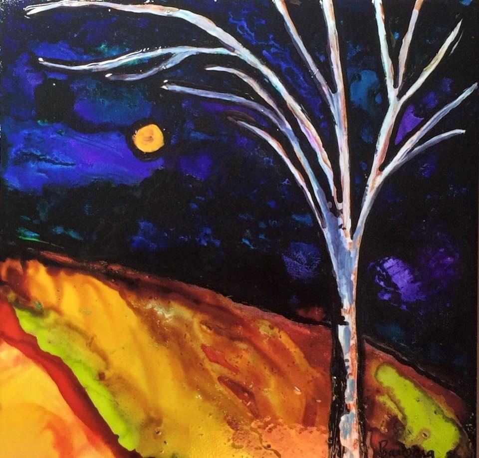 """Tree on tile"" original fine art by Barbara Beckmann"