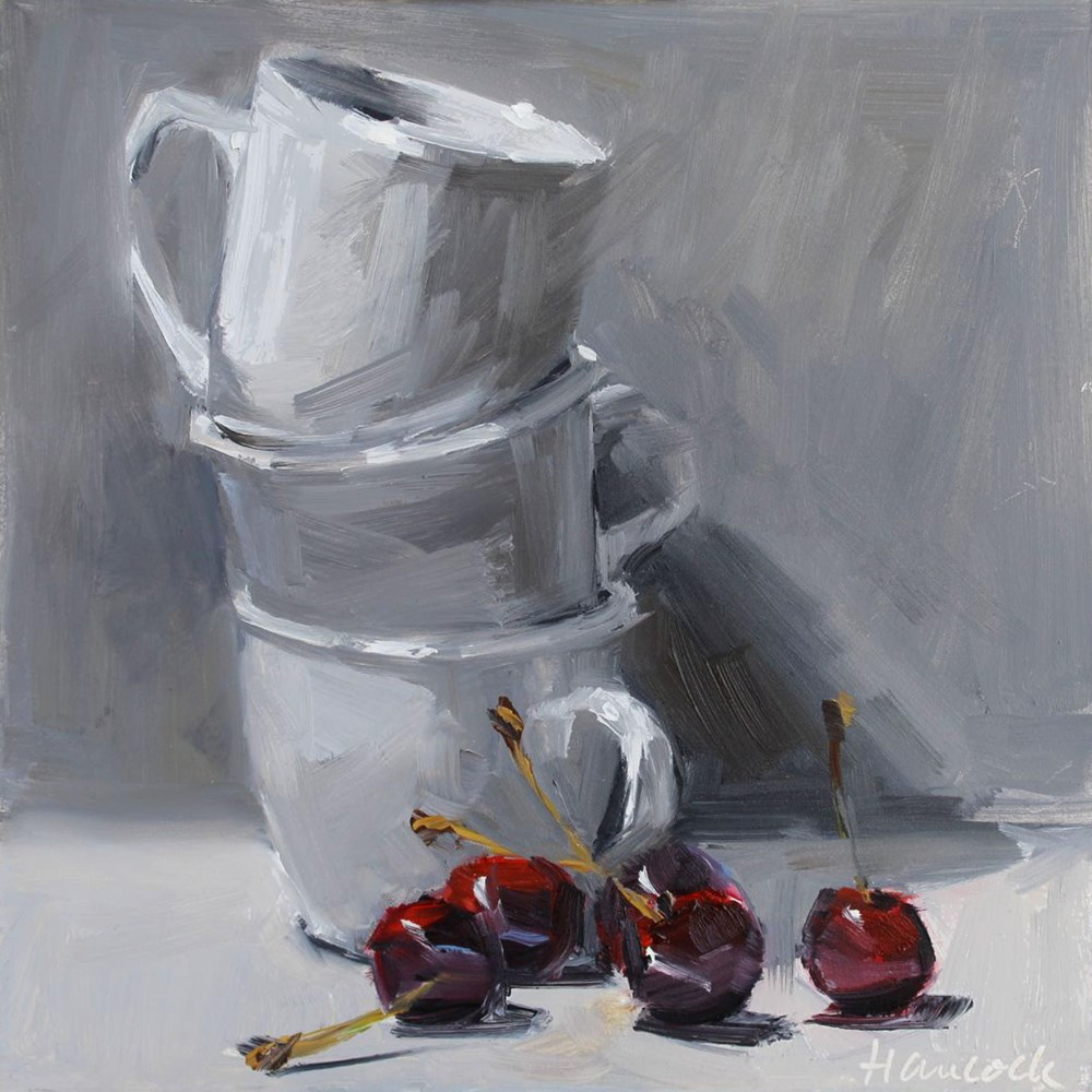 """White Cup Stack and Five Cherries"" original fine art by Gretchen Hancock"