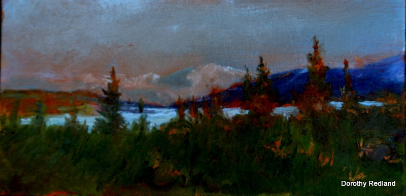 """Wonderr lake-  Mt Deanali"" original fine art by Dorothy Redland"