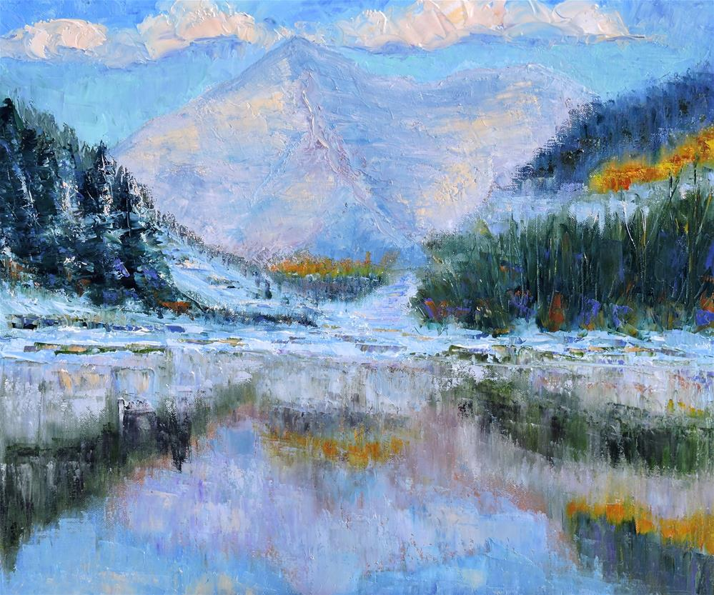 """Maroon Bells Winter"" original fine art by Linda mooney"