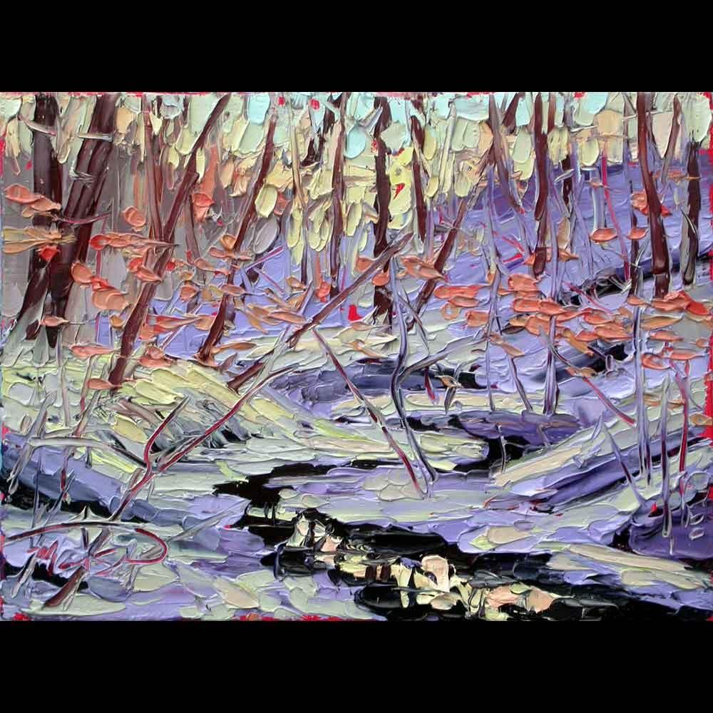 """123116 S 6x8 no3 Dusk in the Forest"" original fine art by Charlene Marsh"