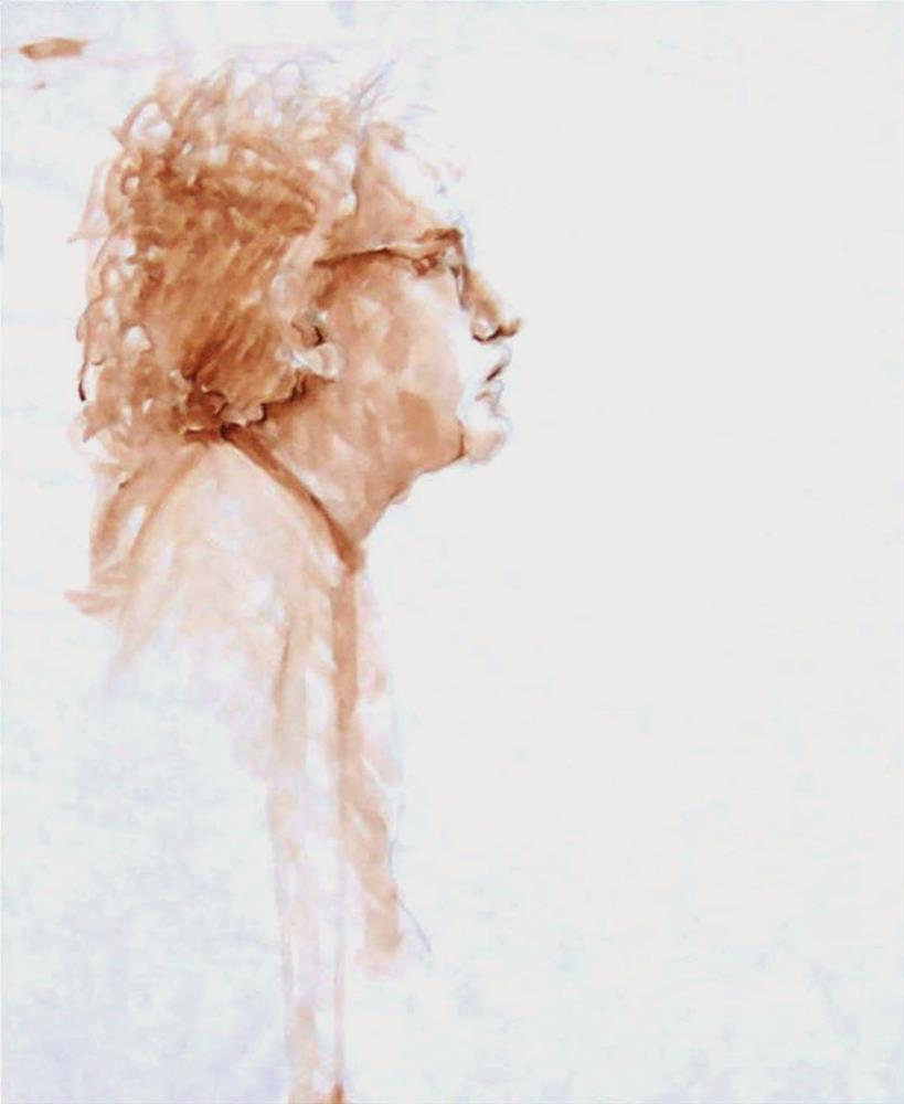 """Painting of a Poet,portrait,sepia wash,24x16,price$200"" original fine art by Joy Olney"