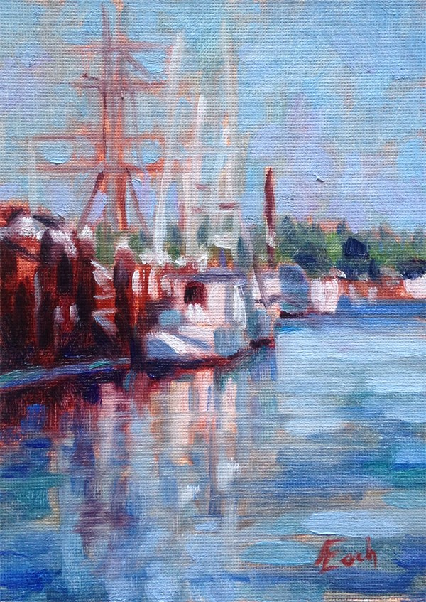 """Boats in Florence, Oregon"" original fine art by Audra Esch"