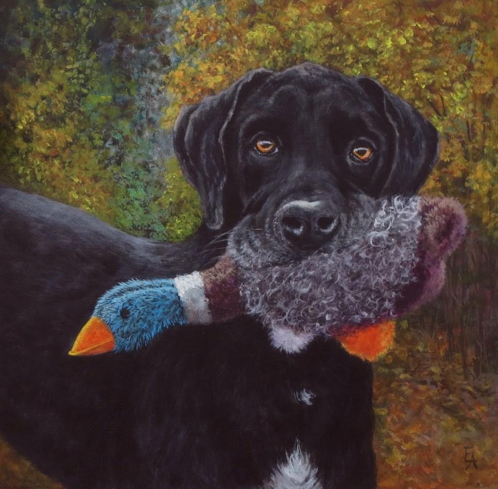 """""""Good Boy!"""" original fine art by Elizabeth Elgin"""