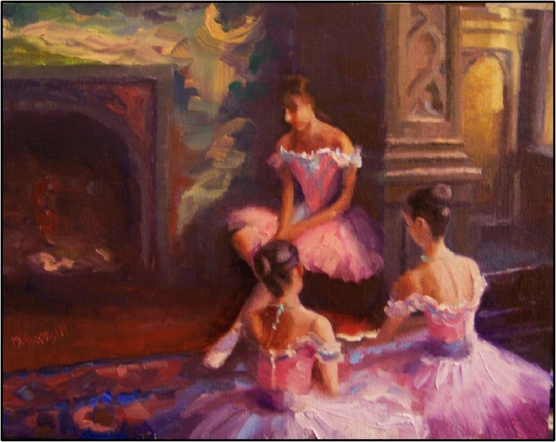 """Contemplation"", 14x 11, oil on linen, paintings of dancers, ballerinas young dancers original fine art by Maryanne Jacobsen"
