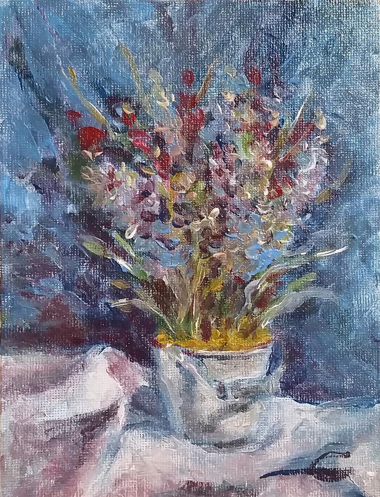 """A Bucket With A Buquet"" original fine art by Gabriella DeLamater"
