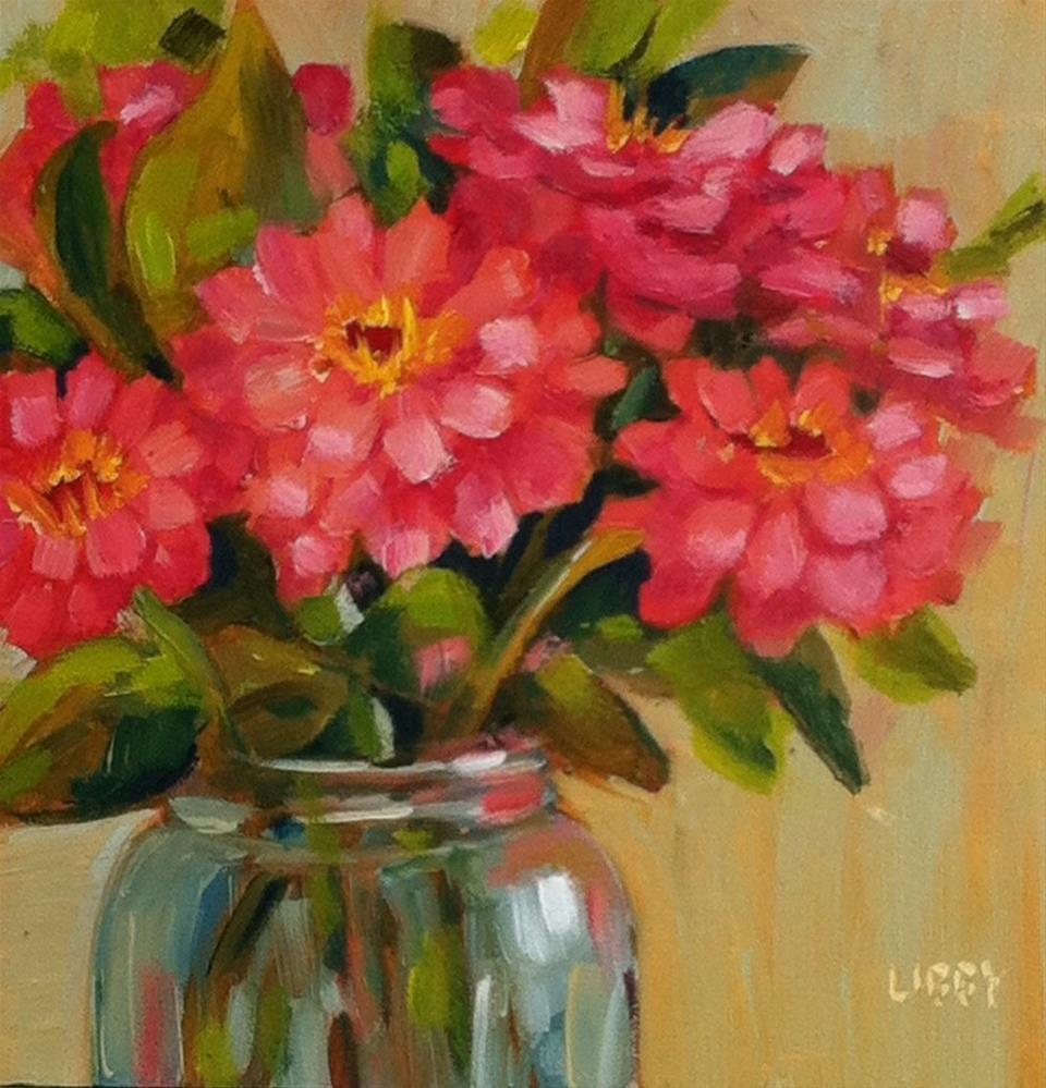 """Garden Zinnias"" original fine art by Libby Anderson"