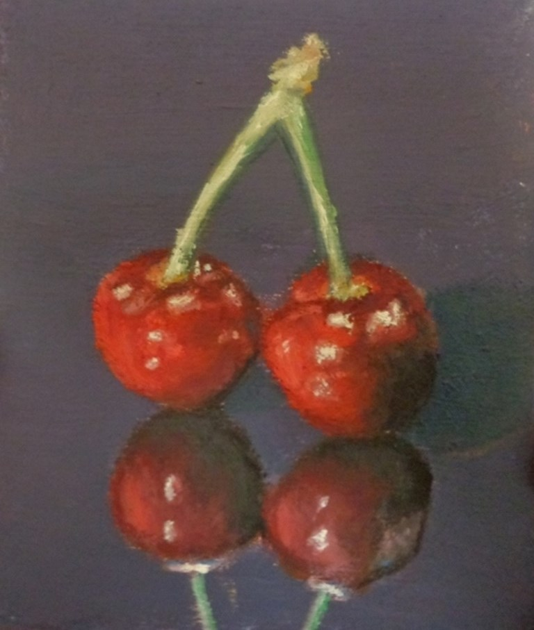 """Cherries"" original fine art by Maria Z."