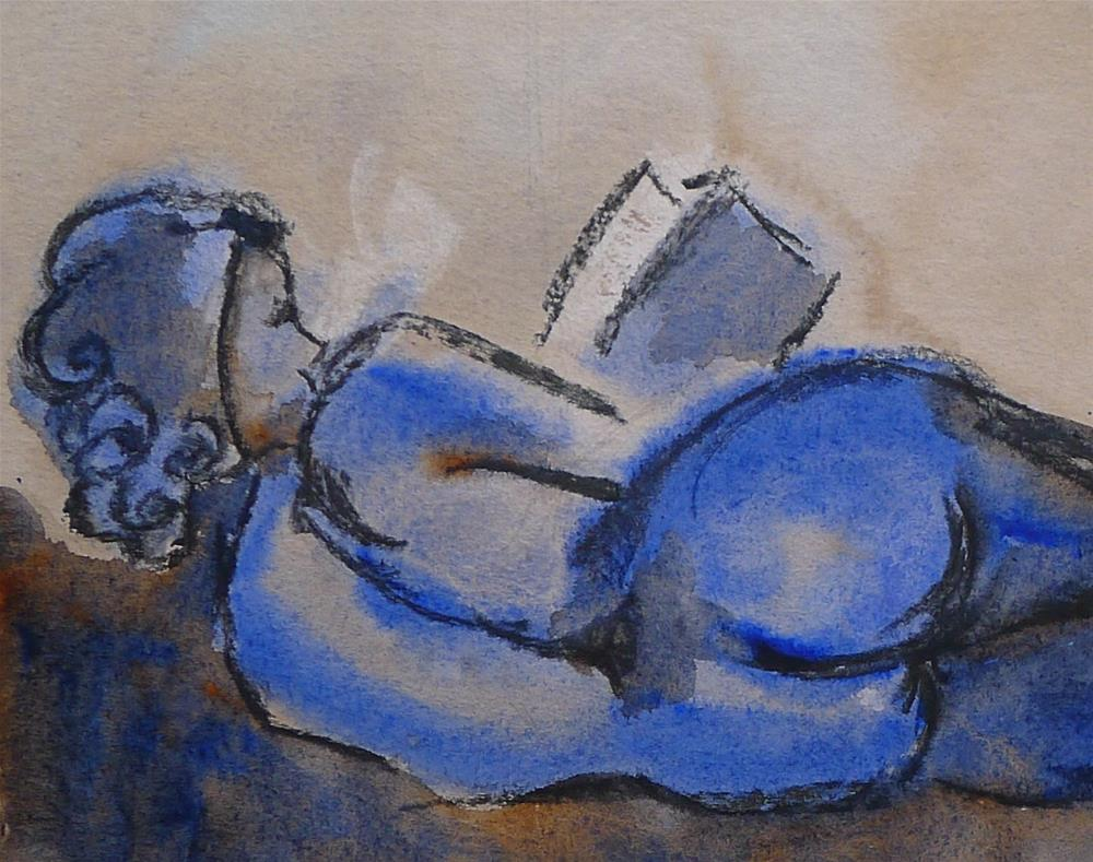 """Blue nude, reading (after Cesar Klein)"" original fine art by Ulrike Schmidt"
