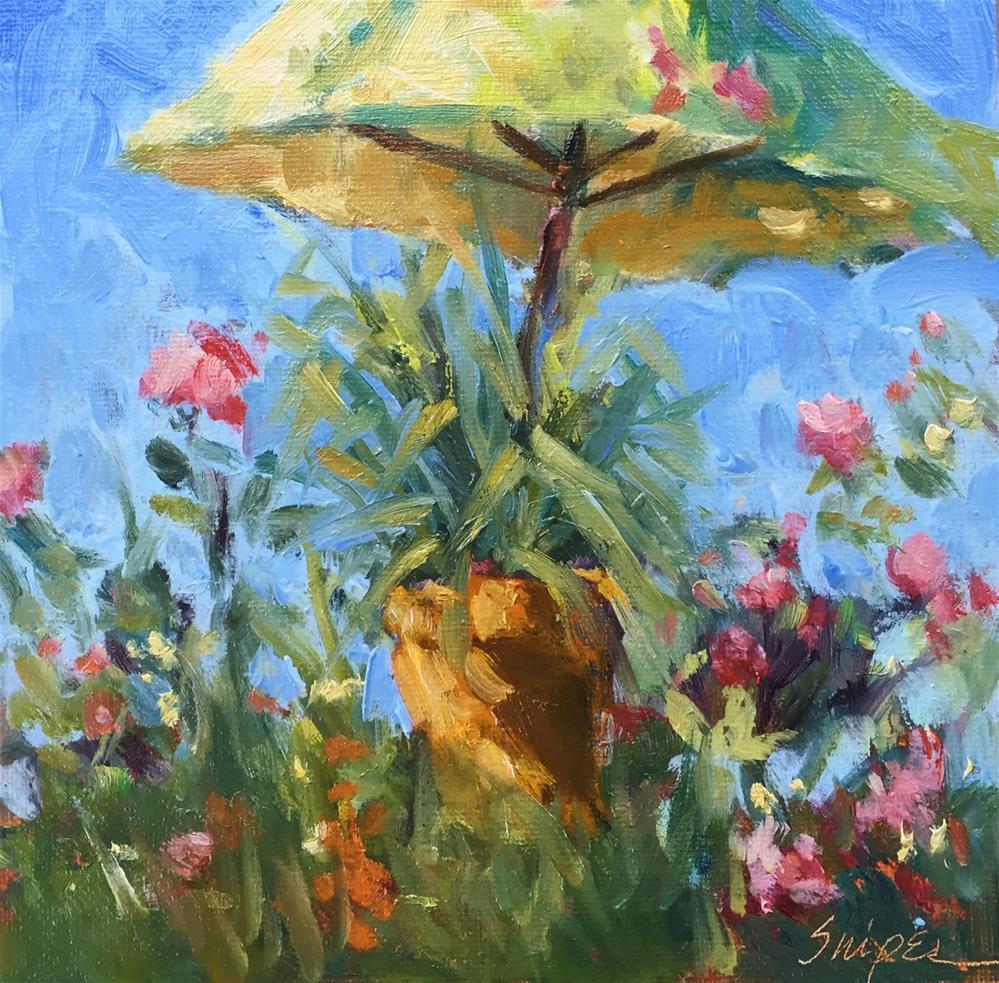 """The Yellow Umbrella"" original fine art by Connie Snipes"