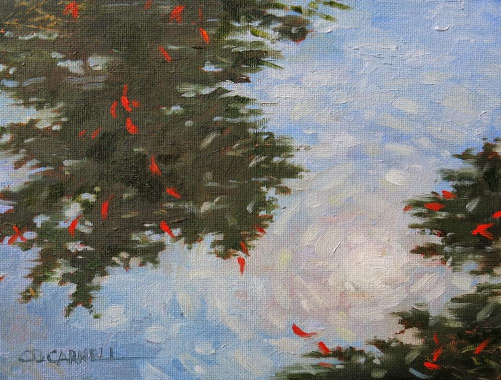 """'Red Leaves Floating on Water' An Original Oil Painting by Claire Beadon Carnell 30 Paintings in 30"" original fine art by Claire Beadon Carnell"