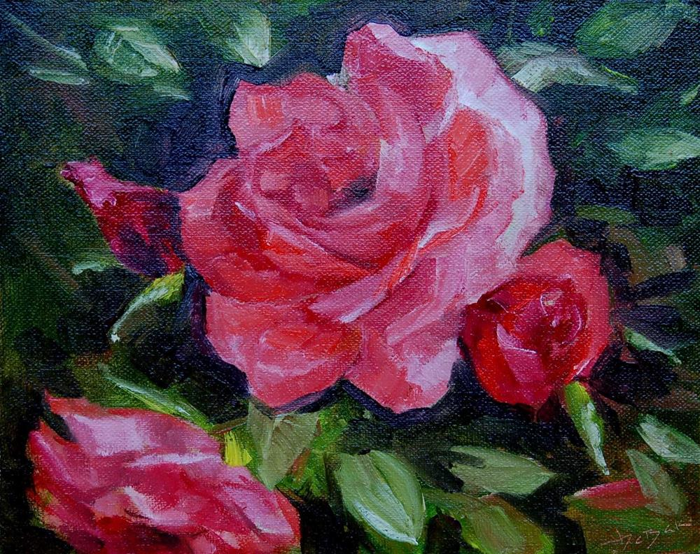 """The Rose Bush Challenge"" original fine art by V. DeBak"