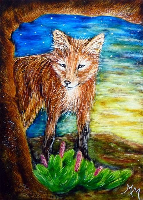 """Fox"" original fine art by Monique Morin Matson"