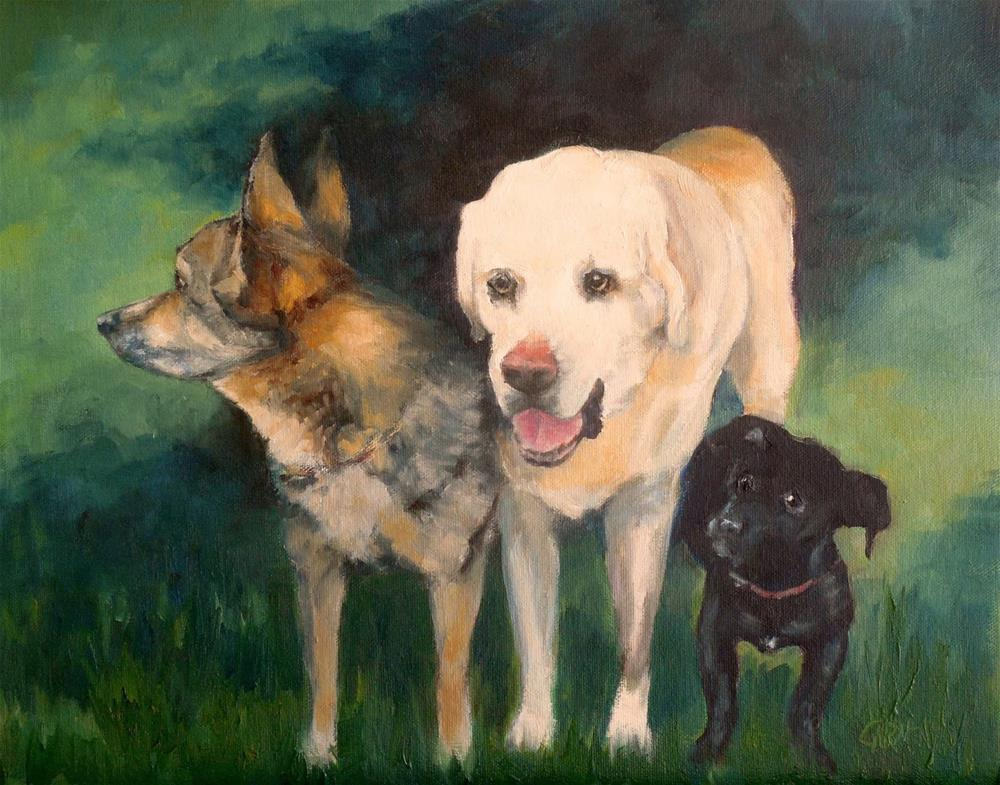 """Bill's Dogs, 11x14 Oil on Canvas Panel"" original fine art by Carmen Beecher"