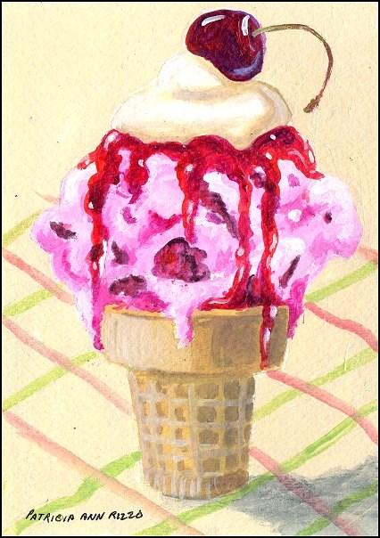"""""""Cherry Ice Cream"""" original fine art by Patricia Ann Rizzo"""