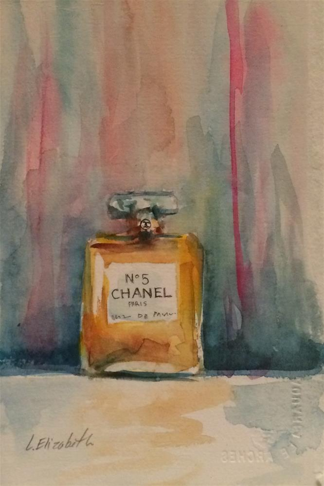"""Still Life with Chanel No5 Bottle, 5  1/2 x  7 1/2   Watercolor on Paper"" original fine art by Carolina Elizabeth"