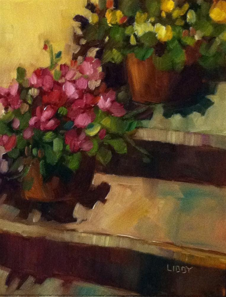 """Resting on the Steps"" original fine art by Libby Anderson"