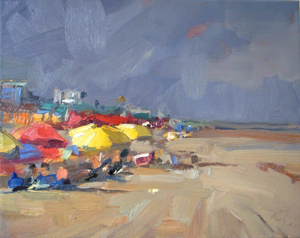 """""""Gele parasollen"""" original fine art by Roos Schuring"""