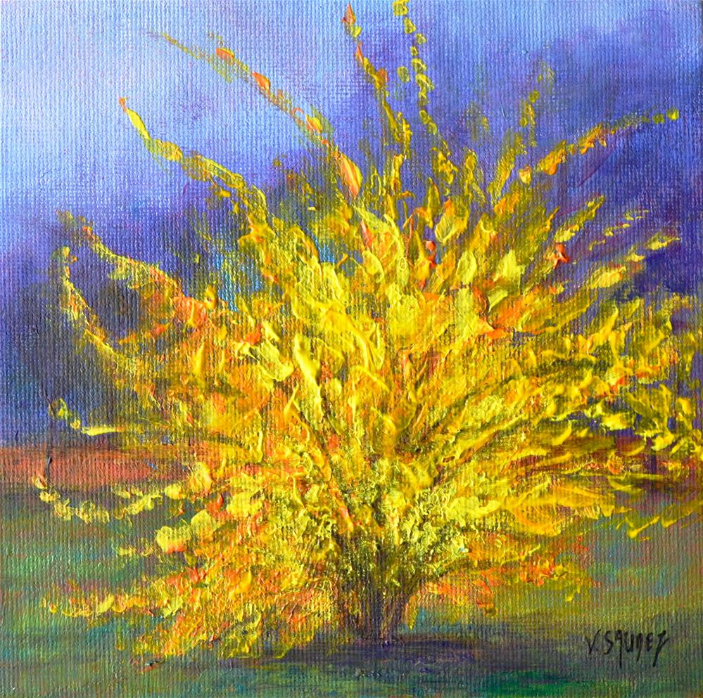 """Forsythias"" original fine art by Véronique Saudez"