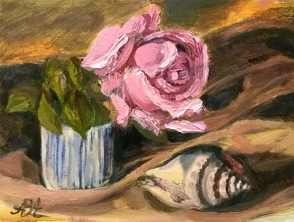 """Pink Rose with Shell"" original fine art by Adriana B. Almquist"