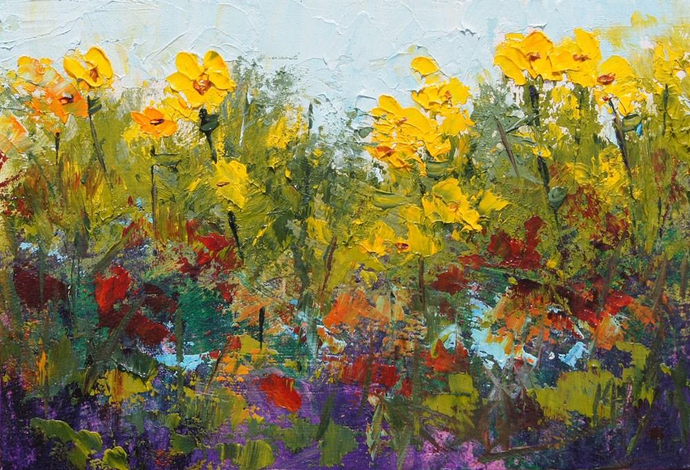 """Spring Garden Corner 1"" original fine art by Marion Hedger"
