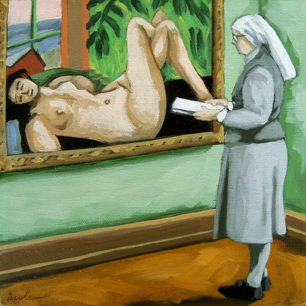 """A Different View nun viewing classics art museum series"" original fine art by Linda Apple"