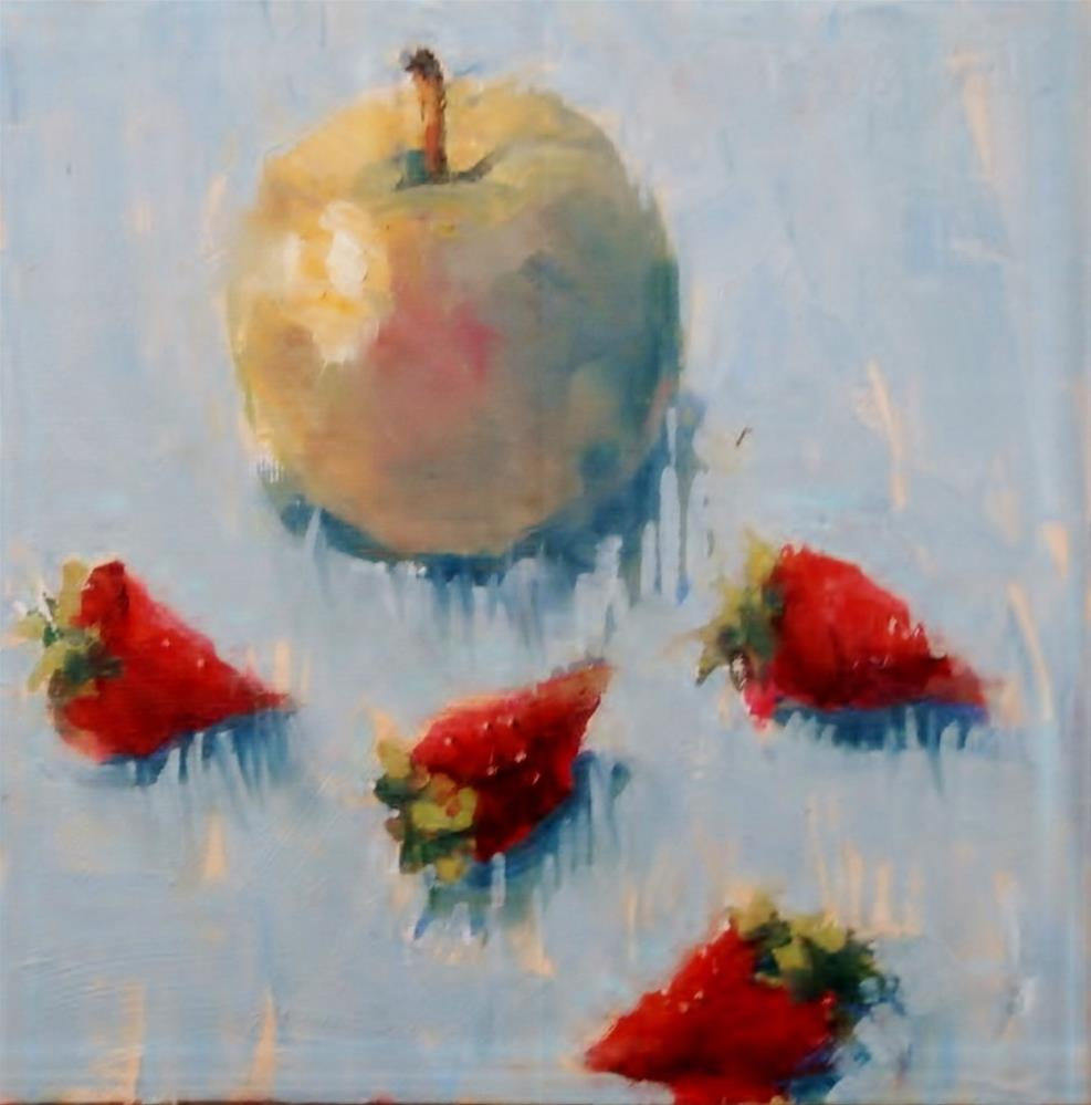 """An Apple a Day Plus Four Strawberries"" original fine art by Connie Snipes"