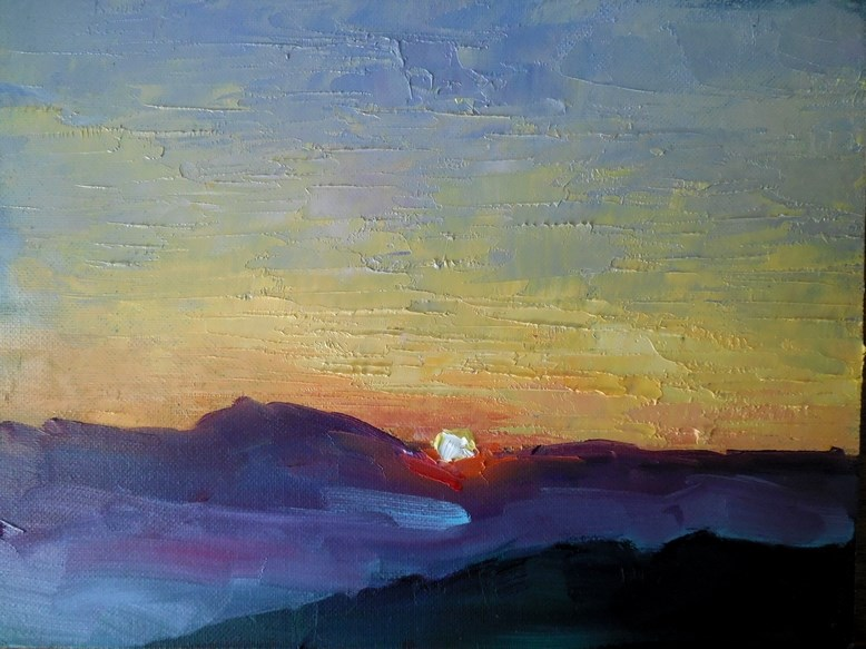 """Mountain Sunset Painting, Daily Painting, Small Oil Painting, Blue Ridge Sunset by Carol Schiff, 6"" original fine art by Carol Schiff"