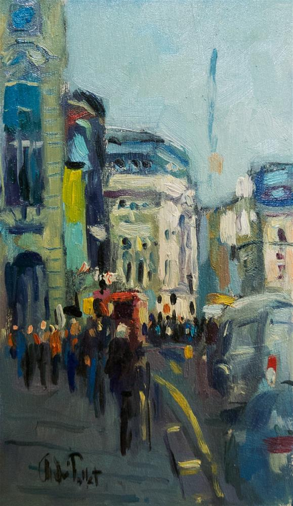 """Traffic at Picadilly"" original fine art by Andre Pallat"