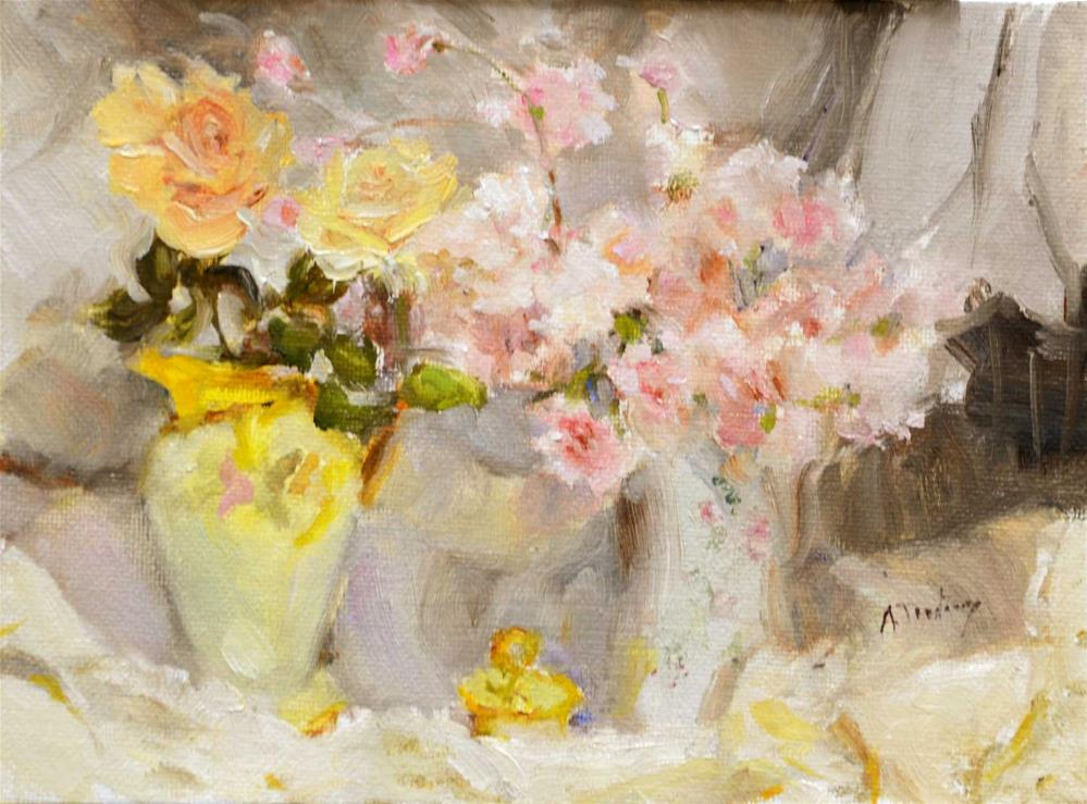 """Roses & Antique Vases"" original fine art by alicia tredway"