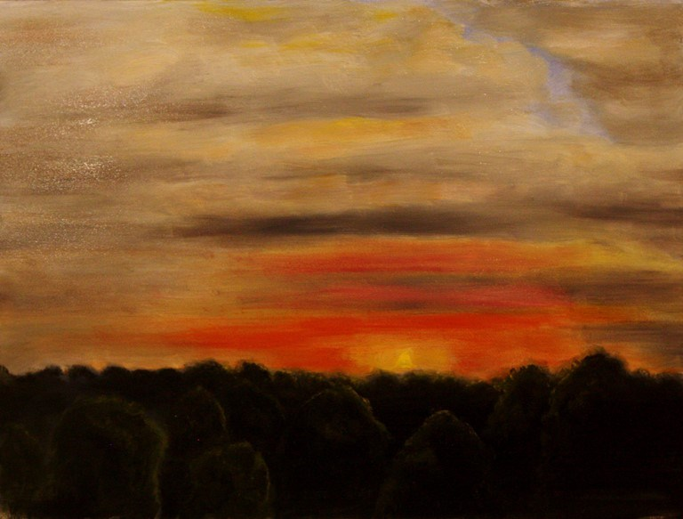 """Red Sky in the Ozarks"" original fine art by Mary Datum"