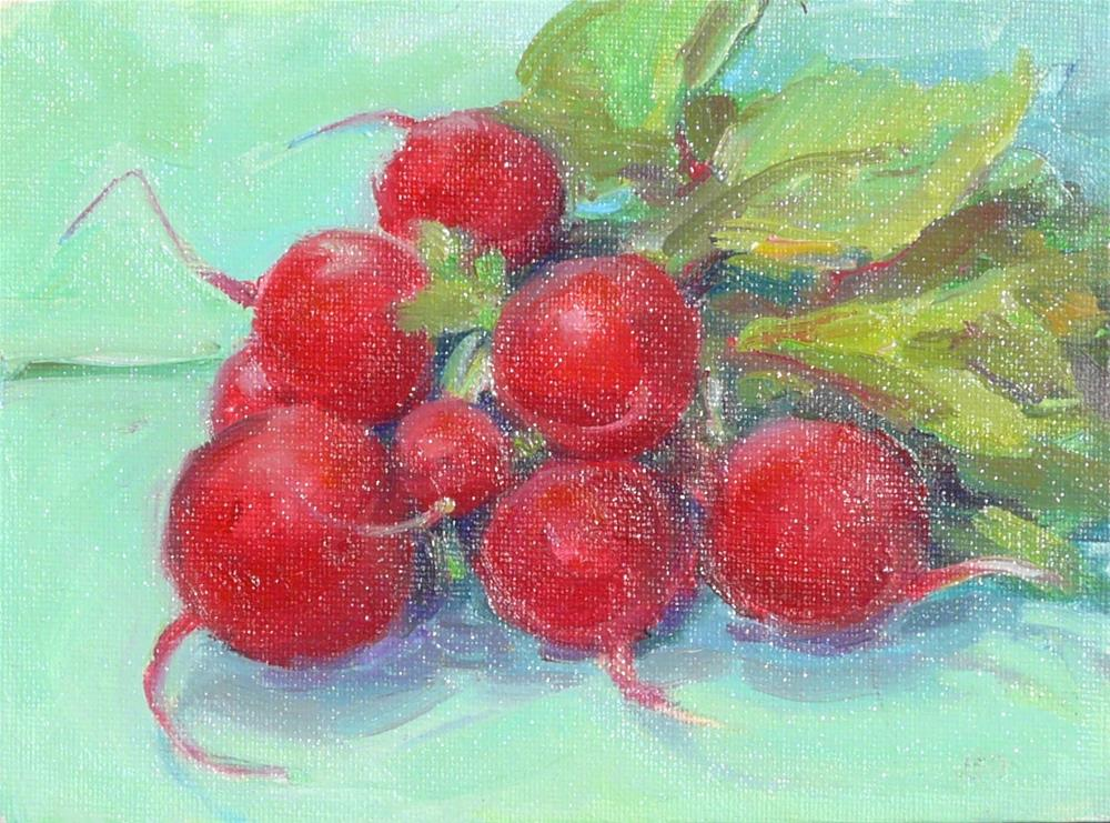 """Radishes in Spring,still life,oil on canvas,6x8,price$125"" original fine art by Joy Olney"