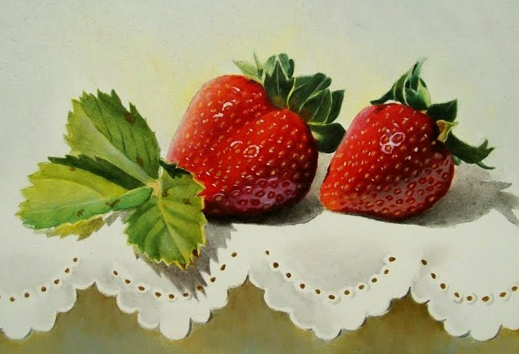 """Strawberries with Leaves on Lace"" original fine art by Jacqueline Gnott, whs"