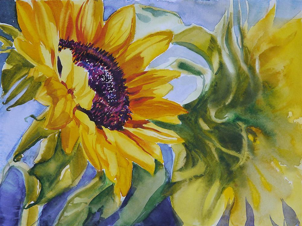 """sunflower_aqua_3"" original fine art by Beata Musial-Tomaszewska"