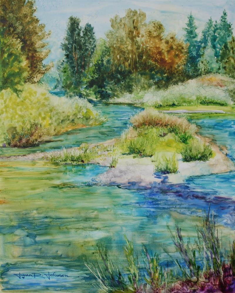"""Calapooia River Island"" original fine art by Jana Johnson"