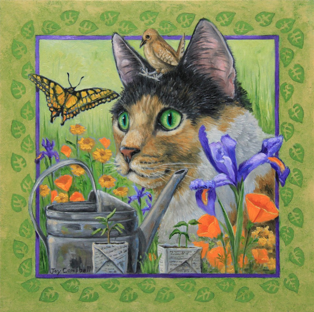 """Nature Kitty"" original fine art by Joy Campbell"