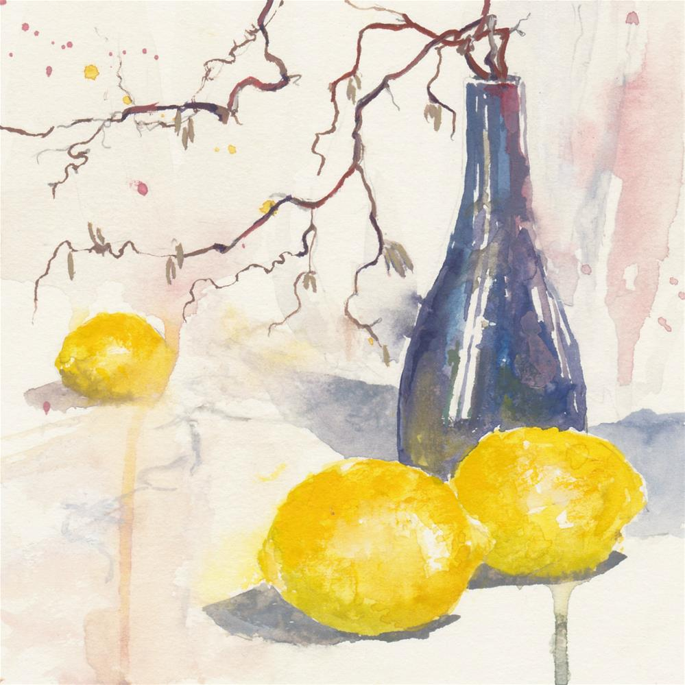 """Lemons and Curly Willow"" original fine art by Vinita Pappas"