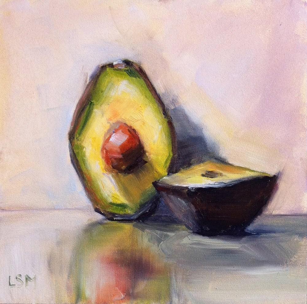 """""""Avocado Sliced"""" original fine art by Linda Marino"""