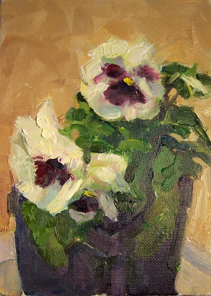 """White Pansies,still life, oil on canvas,7x5,price$200"" original fine art by Joy Olney"