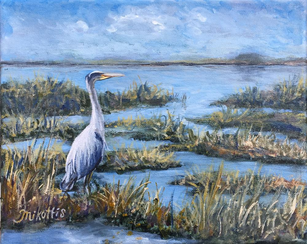 """Great Blue Heron"" original fine art by Michael Mikottis"